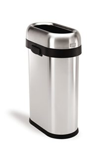 simplehuman slim open trash can commercial grade heavy gauge stainless steel 50 l 13 gal open top design great for hightraffic areas the lid has an