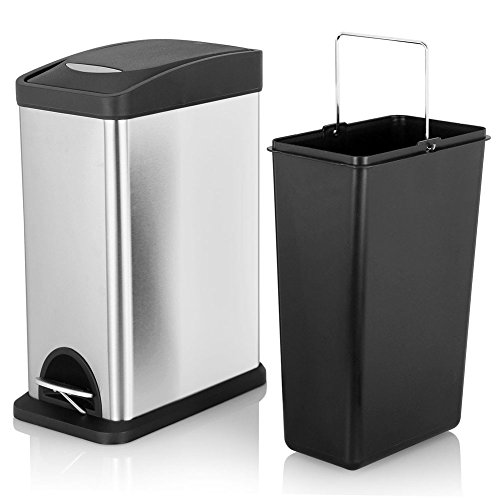 Fortune Candy Slim Rectangular Step Trash Can Stainless