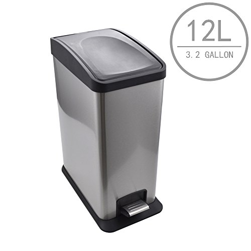 kes stainless steel rectangular step trash can with removable inner bucket silent close lid and fingerprint