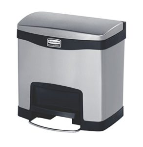 rubbermaid commercial slim jim front stepon trash can stainless steel 4 gallon black sleek stainless steel design creates an elegant statement