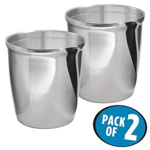 metrodecor 2 piece mdesign wastebasket trash can for bathroom kitchen office polished stainless steel compact wastebasket great for trash or recycling