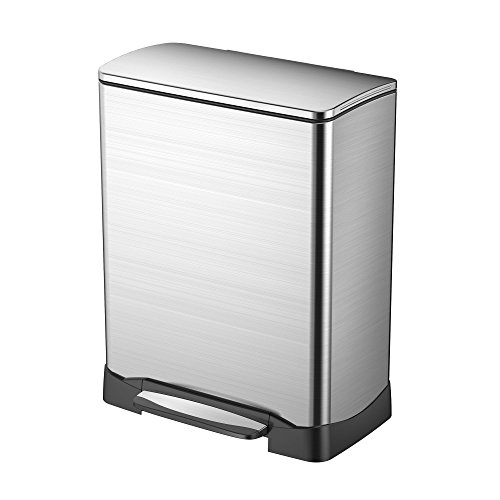 eko 92906 1 dual compartment trash can and recycler stainless steel 28 18l stainless steel. Black Bedroom Furniture Sets. Home Design Ideas