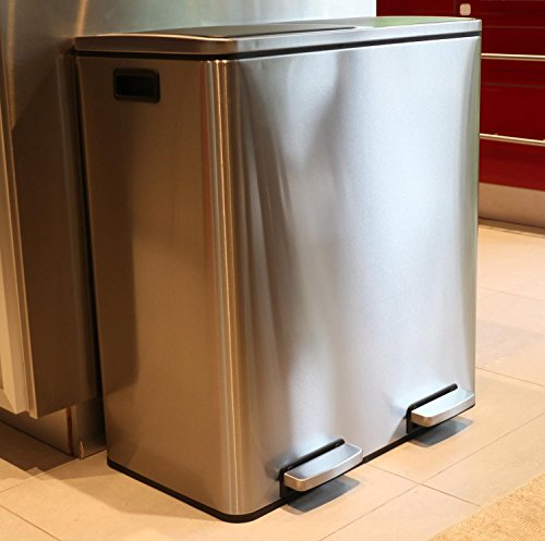 Oliver Smith U2013 Extra Large Step Trash Can Recycler Combo, Stainless Steel,  Slow Close, 30 L Garbage + 30 L Recycling / 16 Gal